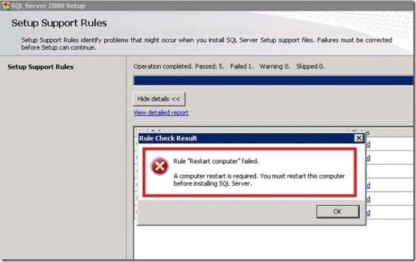 Rule Restart Computer Failed