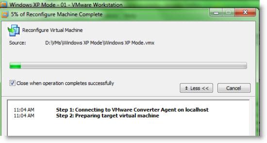 Import windows XP mode virtual machine to VMware Workstation 7 Vmware